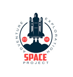 Logo spacecraft launch space exploration and vector