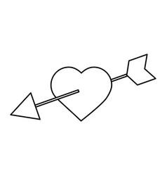 love heart pierced arrow valentine day romantic vector image