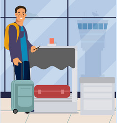 man in airport traveler men with suitcase at vector image