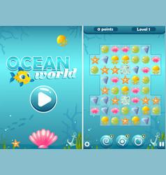 Match three ocean world game with start screen vector