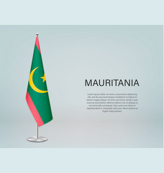 Mauritania hanging flag on stand template vector