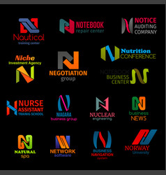 N letter modern color corporate identity icons vector