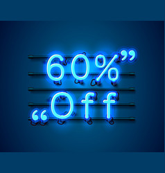 Neon frame 60 off text banner night sign board vector