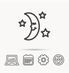 Night or sleep icon moon and stars sign vector