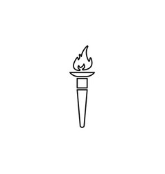 olympic torch flame line icon black on white vector image