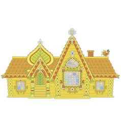Ornate log house vector
