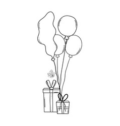 party balloons helium with gifts vector image