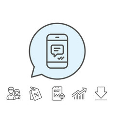 Phone message line icon mobile chat sign vector