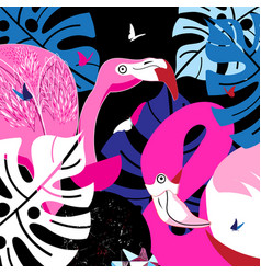 pink flamingos in tropical jungle vector image