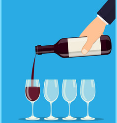 pouring out red wine from a bottle in wineglasses vector image