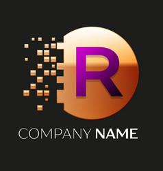 Purple letter r logo symbol in golden pixel circle vector