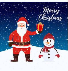 santa claus snowman at christmas night vector image