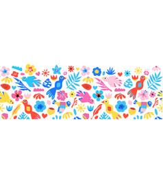 seamless border cute birds flowers cute vector image