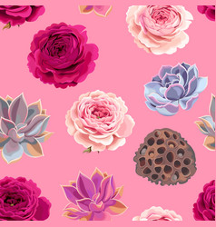 Seamless pattern with succulents and roses vector