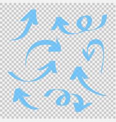 Set blue arrow isolated on transparent vector