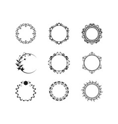 set graphic circle frames wreaths vector image