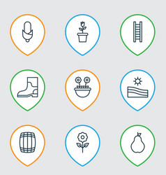 Set of 9 holticulture icons includes stairway vector