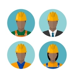 Set of builders avatars vector image
