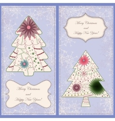 Set of christmas cards with trees and snowflakes vector image