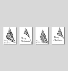 set of gray stylized christmas tree flyers vector image
