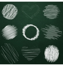 Set of hand drawn objects chalk on chalkboard vector