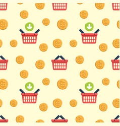 shopping basket and coin flat icons vector image