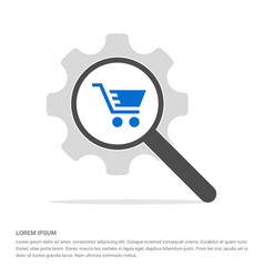 Shopping cart icon search glass with gear symbol vector