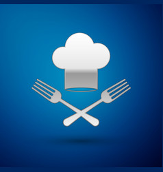 Silver chef hat and crossed fork icon isolated on vector