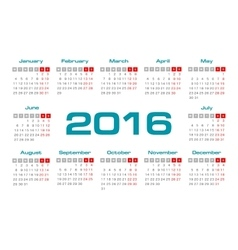 Simple european 2016 year calendar vector image