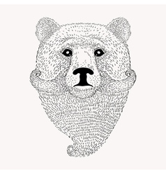 Sketch Bear with a beard and moustache Hand drawn vector