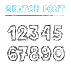 sketch number set black elements on white vector image