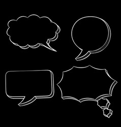 speech bubbles white hand drawn sketch on black vector image
