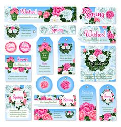 spring rose flower gift tag and label set design vector image
