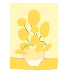 Sunflowers van gogh imitation like child s drawing vector