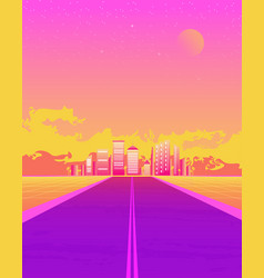 synthwave with dream road sunset color and city vector image