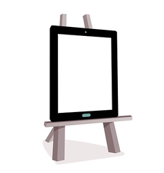 Tablet on the wooden easel vector
