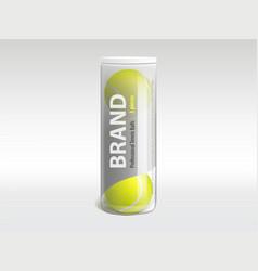 Tennis balls in branded packaging realistic vector