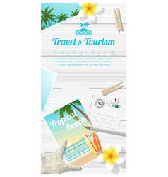 travel and tourism background with beach postcards vector image