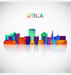 utica skyline silhouette in colorful geometric vector image
