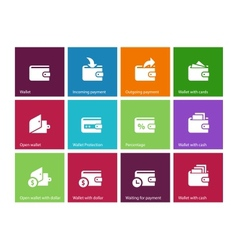 Wallet and translation icons on color background vector image