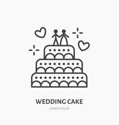 wedding cake confectionery logo flat line icon vector image