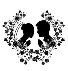 wedding silhouette with flourishes 7 vector image