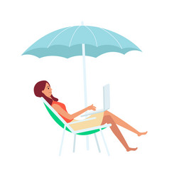 woman with laptop sitting in lounge chair under vector image