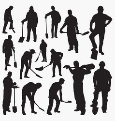 worker with spade silhouettes vector image