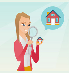 young caucasian woman looking for a house vector image
