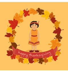 Circle Autumn Leaf Thanksgiving Indian Girl vector image vector image