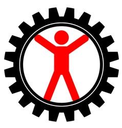 icon of man in cog-wheel vector image vector image