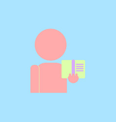 Man silhouette holding book vector