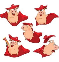 Set Cartoon Cute Pigs in Superhero vector image