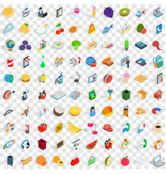 100 shop icons set isometric 3d style vector image vector image